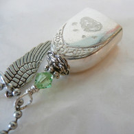 ANGEL PAW FUR-EVER BELL Peridot Swarovski Crystal Angel Necklace 141