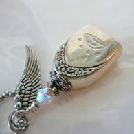 ANGEL PAW FUR-EVER BELL Rainbow Frost Swarovski Crystal Necklace 62