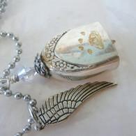 ANGEL PAW FUR-EVER BELL Rainbow Swarovski Crystal Necklace 0802
