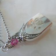ANGEL PAW FUR-EVER BELL Pink Frost Swarovski Crystal Necklace 0080