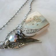ANGEL PAW FUR-EVER BELL Rainbow Frost Swarovski Crystal Necklace 0263