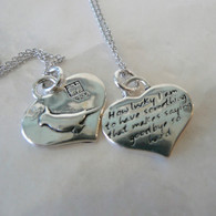 KEVIN N ANNA Angel Cockatiel Bird Silver Heart Reversible Pendant
