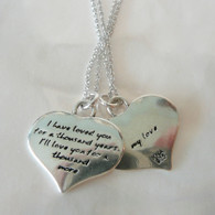 KEVIN N ANNA Love Quote on Heart Silver Necklace
