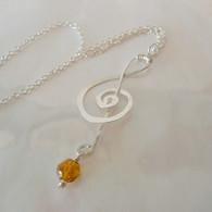 LeDance Treble Music Clef Sterling Silver & Topaz Swarovski Crystall Necklace