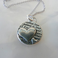 Mother's Love Two Hearts Sterling Silver Necklace Handmade in the USA