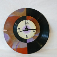DEBORAH DICKINSON  Amber Swirls/Black Half & Half Wall Clock