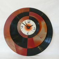 DEBORAH DICKINSON Amber Marble Super Quad Half Wall Clock