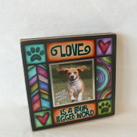 MACONE STUDIO LOVE IS A FOUR LEGGED WORD WOOD PICTURE FRAME