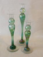 MARK ROSENBAUM ART Trio Green Candle Sticks
