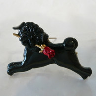 Black Pug with rose of love Pin & Pendant Handmade in the USA