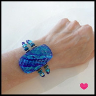 Water Blue Fused Glass Non-Twist Cuff on Memory Wire. Handmade in the USA
