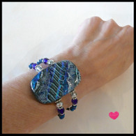 ICE BLUE FUSED GLASS MEMORY WIRE CUFF HANDMADE IN THE USA