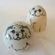 Ceramic Puppy Maltese Salt & Pepper Set Handmade in the USA
