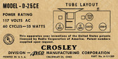 Crosley D-25CE Label (Item: LBL-CR-D25CE)