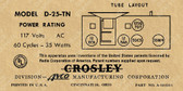 Crosley D25TN Label (Item: LBL-CR-D25TN)