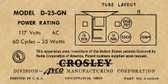 Crosley D25GN Label (Item: LBL-CR-D25GN)