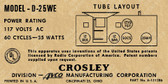 Crosley D25WE Label (Item: LBL-CR-D25WE)