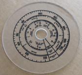 Dial image taken against tan background to illustrate dial scale print. Dial is clear other than scale printing.