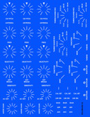 Decal illustration on blue background to show white decal print