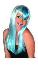 Platinum with Electric Blue 60's Long Hair Wig