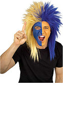 Blue & Gold Sports Fanatic Hair Wig