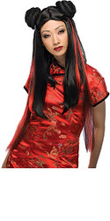 Asian Wig, Black Long Hair with Red Stripes - Halloween Wig 2010