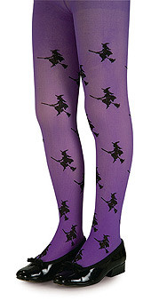Child Purple Tights with Black Glitter Witch Applique