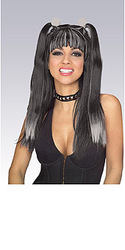 Black & Grey Goth Cheerleader Hair Wig