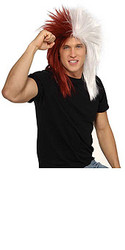 Maroon & White Sports Fanatic Hair Wig