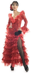 Senorita Dress Adult Fancy Red Spanish Costume
