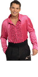 Pink Velvet Disco Shirt Adult 70s Costume