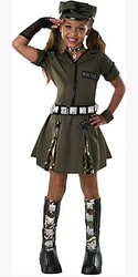 Major Flirt Costume, Girls Army Uniform