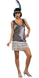 Silver Flapper Costume Adult 20s Dress