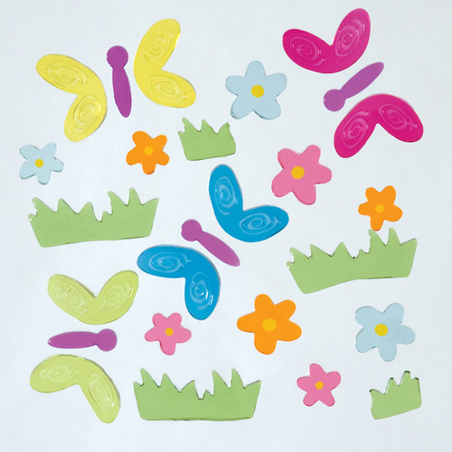 Flutter Flowers Small GelGems Window Clings