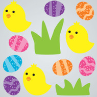 Chicks and Eggs Gel Gems Small Window Clings