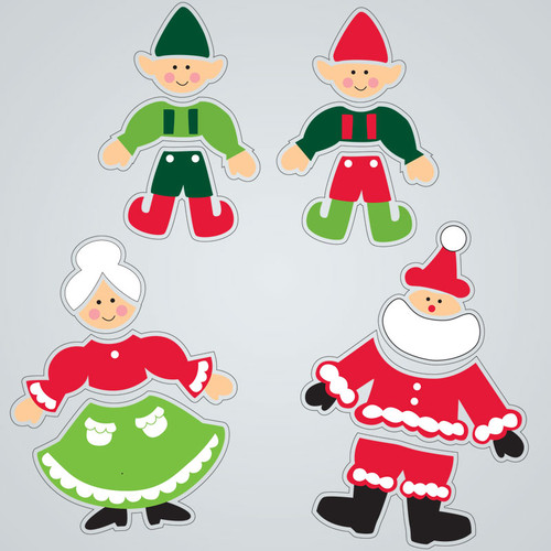 Claus Family Large GelGems Window Clings
