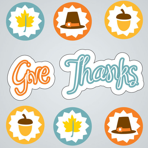 Give Thanks Small GelGems Window Clings