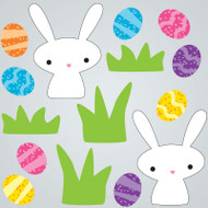 Rabbit and Eggs Gel Gems Large Window Clings