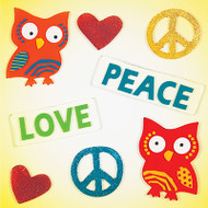 Peace Love Owls Small GelGems® Window Clings