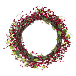 Christmas Red Berry Wreath with Leaves