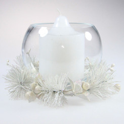 Christmas Candle Wreaths with Vases - White coloured