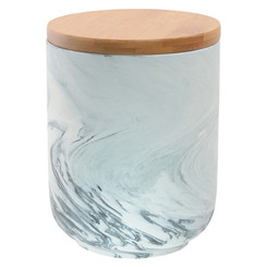 Olsen Marble Canister with Bamboo Base - Grey - Medium