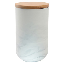 Olsen Marble Canister with Bamboo Base - White - Large