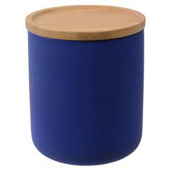Evora Canister with Bamboo Lid - Blue Medium, Height 12cm