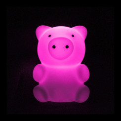 Zooglo Rechargeable LED Night Light - Pig - Light on