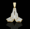 10K Gold 0.20CT Diamonds Micro Praying Hands Pendant