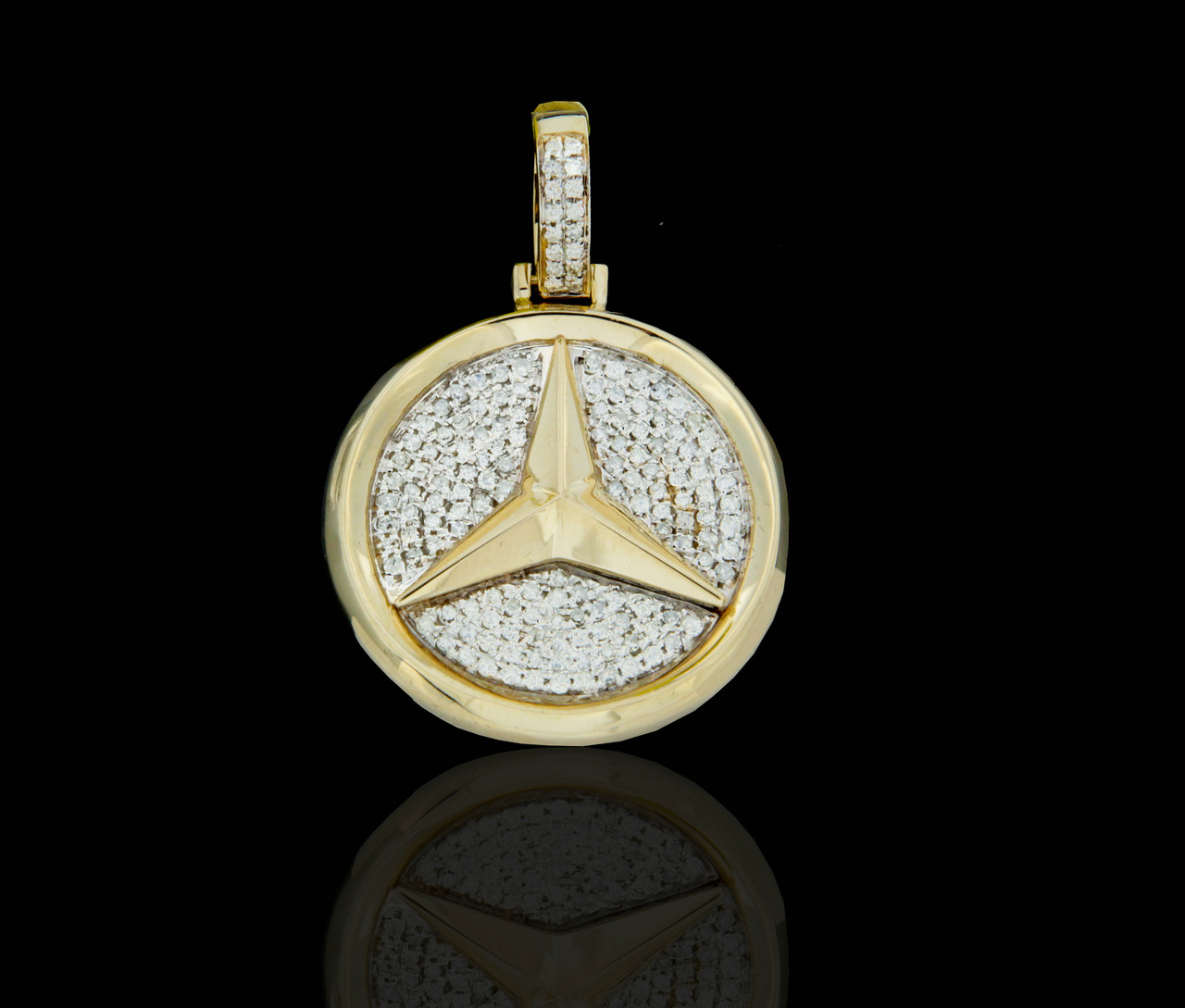 10k gold diamonds mercedes benz pendant king for Mercedes benz charm