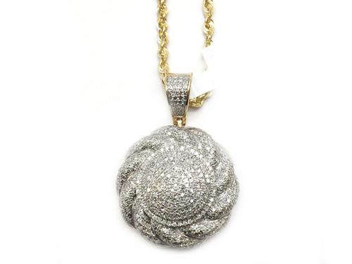 10K Gold 1.20CT Diamond Round Pendant