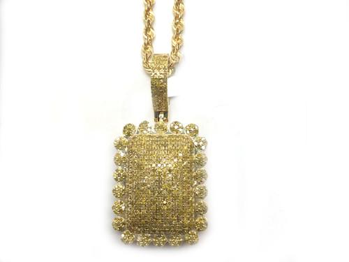 10K Gold 1.12CT Yellow Diamond Square Pendant