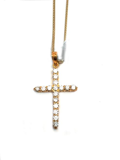 10K Gold Custom Made Cross 0.80Ct Diamonds